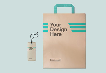Paper Shopping Bag and Label Mockup