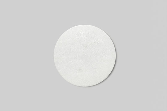 Round Cardboard Coaster with Copy Space Isolated on White Background.High resolution photo.