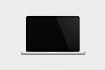 Laptop Mock-up with blank screen isolated on white background with clipping path. 3D rendering.