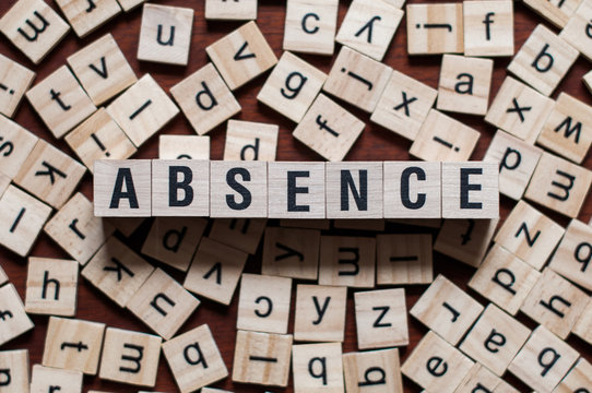 absence word on building block