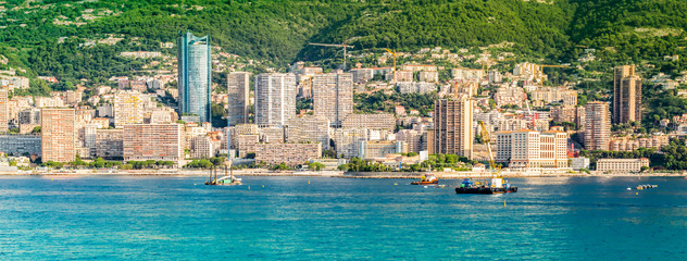 Panoramic city view of Monte Carlo, Monaco.