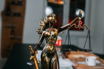 scales of justice in the office. concept of justice law.