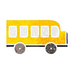 retro illustration style cartoon school bus