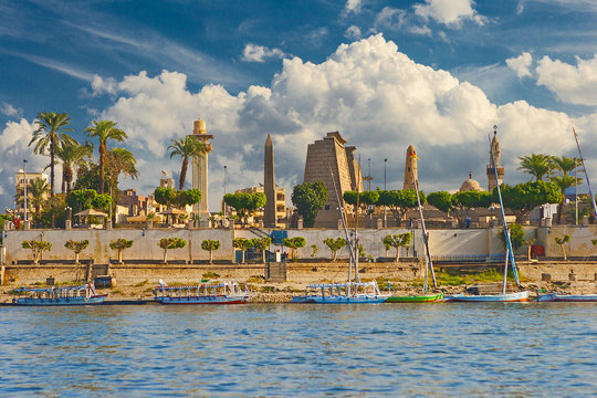 River Nile Luxor Egypt, Beautiful yellow sunny background