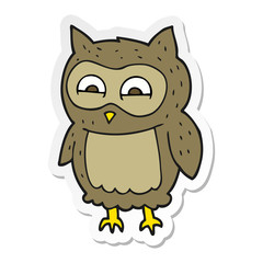 sticker of a cartoon owl