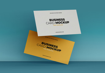 Two Floating Business Cards Mockup
