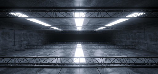 Sci Fi Futuristic Concrete Grunge Reflective Spaceship Led Laser Panel Stage Metal Structure Lights Long Hall Room Corridor Tunnel Dark Empty 3D Rendering Wall mural