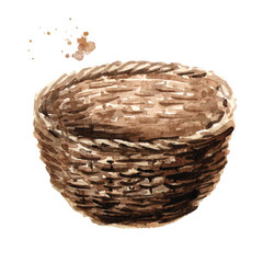 Empty basket. Watercolor hand drawn illustration, isolated on white background
