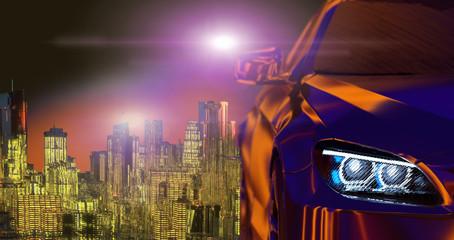 Modern cars on dark background 3d render