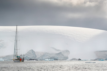 Yacht off the coast of Antarctica