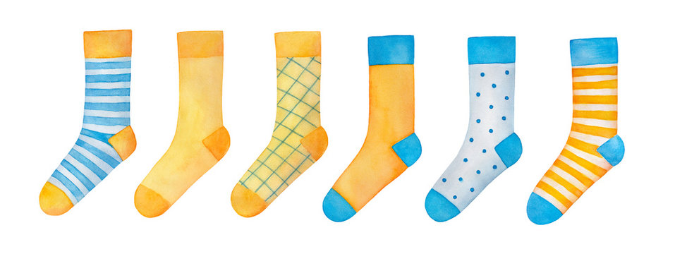 Big illustration set of various colourful pairs of socks. Yellow, orange, teal, light blue color. Hand drawn watercolour graphic drawing on white background, cut out clip art objects for decoration.