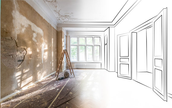apartment room during renovation merged with outline drawing / sketch of the room  -