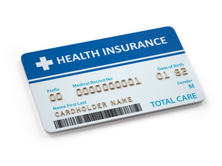 Health Insurance cards total and dental care  Isolated on white background.