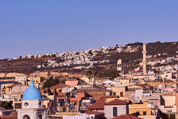 Church towers and minaret in Chania, on the island of Crete.