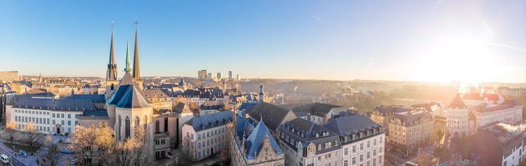 Foto op Plexiglas Grijs Aerial view of Luxembourg in winter morning