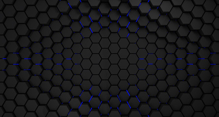 Wall Mural - black and blue metal hexagons abstract background, 3d render