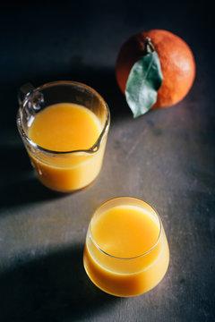 Orange juice on table