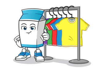 milk and t shirts stand mascot vector cartoon illustration