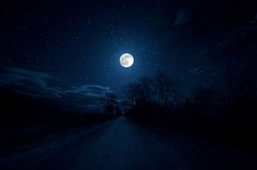 Mountain Road through the forest on a full moon night. Scenic night landscape of dark blue sky with moon. Azerbaijan Fotoväggar