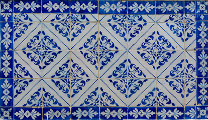 old tiles of a building in a street in Lisbon