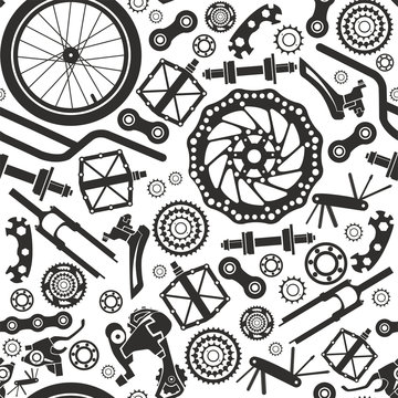 Bicycles. Seamless pattern of bicycle parts. Isolated vector image.