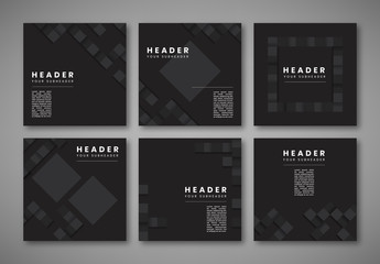 Social Media Post Layouts with Gray and Black Elements