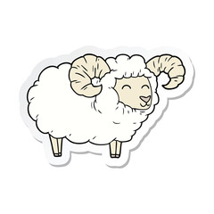 sticker of a cartoon ram