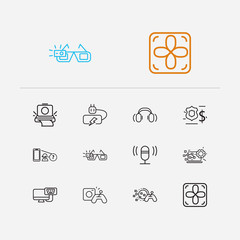 Electronics icons set. Computer battery and electronics icons with virtual interactive control, microphone and computer system fan. Set of contact for web app logo UI design.