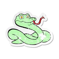 distressed sticker of a cartoon snake