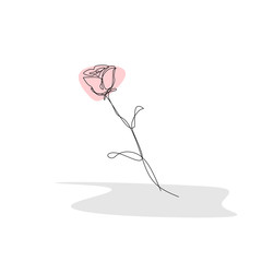 Continuous one line drawing of rose flower vector illustration isolated on white background