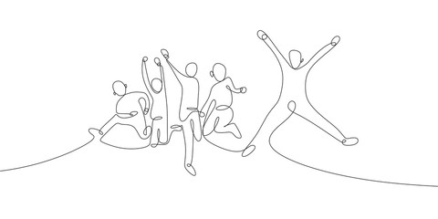 continuous one line drawing of four jumping happy team members celebration vector illustration