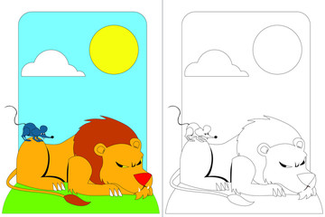 Lion and Mouse Fable. Coloring Book Vectoral Illustration. Coloring and Colorless Page Set.