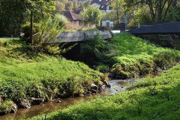 riverbed of the river named Mistebach in Bayreuth, Bavaria,Germany, in backlit