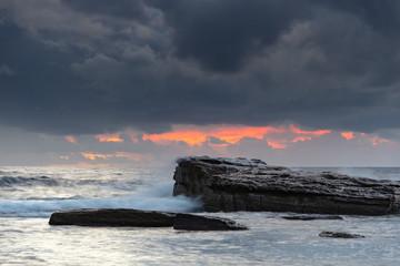 Rock Ledge and Sunrise Seascape