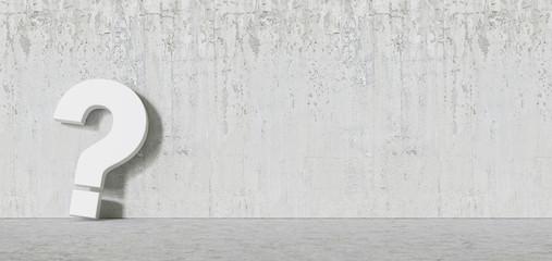 White question mark concrete Wall - FAQ Concept