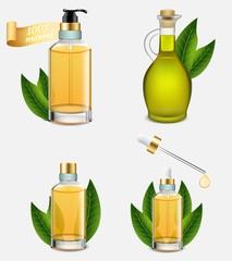 Tea tree oil bottle set, vector realistic illustration