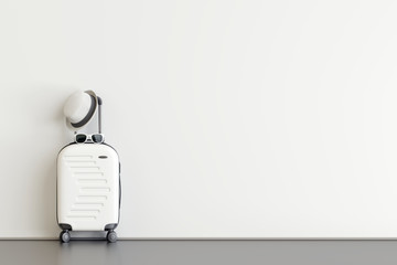 White suitcase with hat and sunglasses  in airport departure lounge. Travel concept. 3d rendering Fototapete