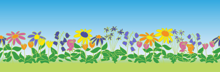 Seamless flower patch border pattern with sky