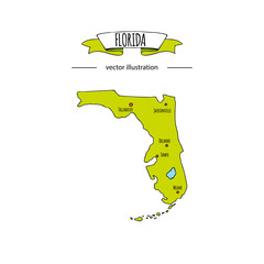 Hand drawn doodle Florida map icon Vector illustration isolated on white background islands outer borders symbol Cartoon ribbon band element icon. USA state, Miami,Orlando, Tampa, Gulf of Mexico coast