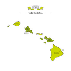 Hand drawn doodle Hawaii map icon Vector illustration isolated on white background Hawaiian islands outer borders symbol Cartoon ribbon band element icon. USA state, Honolulu, Maui, Oahu