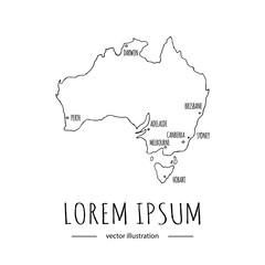 Hand drawn doodle Australia map icon Vector illustration isolated on white background Australian symbol Cartoon element Tasmania island, outer borders Sydney Canberra Melbourne Brisbane Perth Darwin