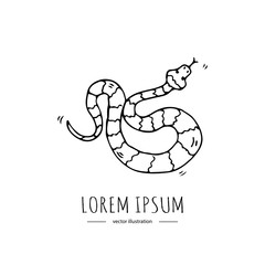 Hand drawn doodle Australian poisonous snake icon Vector illustration of Serpent isolated symbol on white background Cartoon element Venomous limbless reptile Aboriginal art style