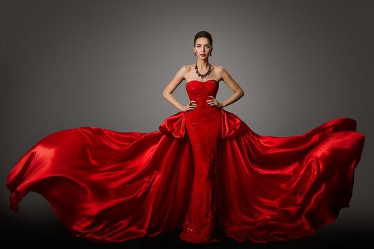 Fashion Model Red Dress, Woman in Long Fluttering Waving Gown, Young Girl Beauty Portrait
