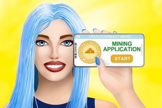 Concept application for cryptocurrency mining. Drawn beautiful girl on bright background. Illustration