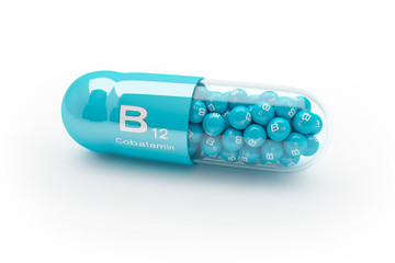 3d rendering of a vitamin capsule with vitamin B12 - Cobalamin
