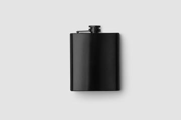 Black hip flask mock-up isolated on soft gray background.3D illustration