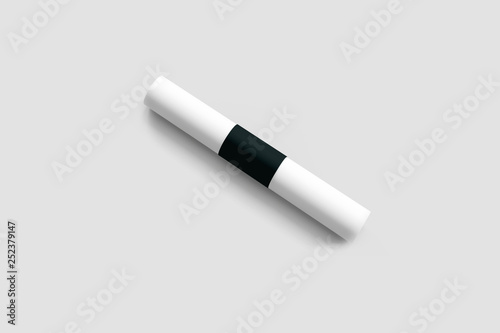 White paper rolled into a roll isolated on white  black sticker