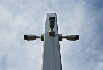 Security Camera in the sky above the city park
