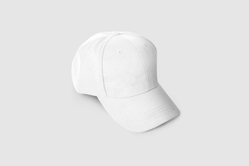 Baseball cap white template top view on a soft gray background. Mock up. Hat.3D illustration
