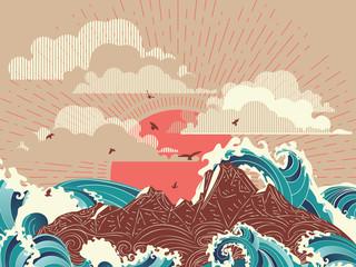 Big sea waves sunset